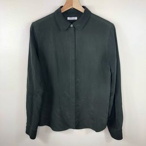 Everlane green 100% silk button up blouse size med